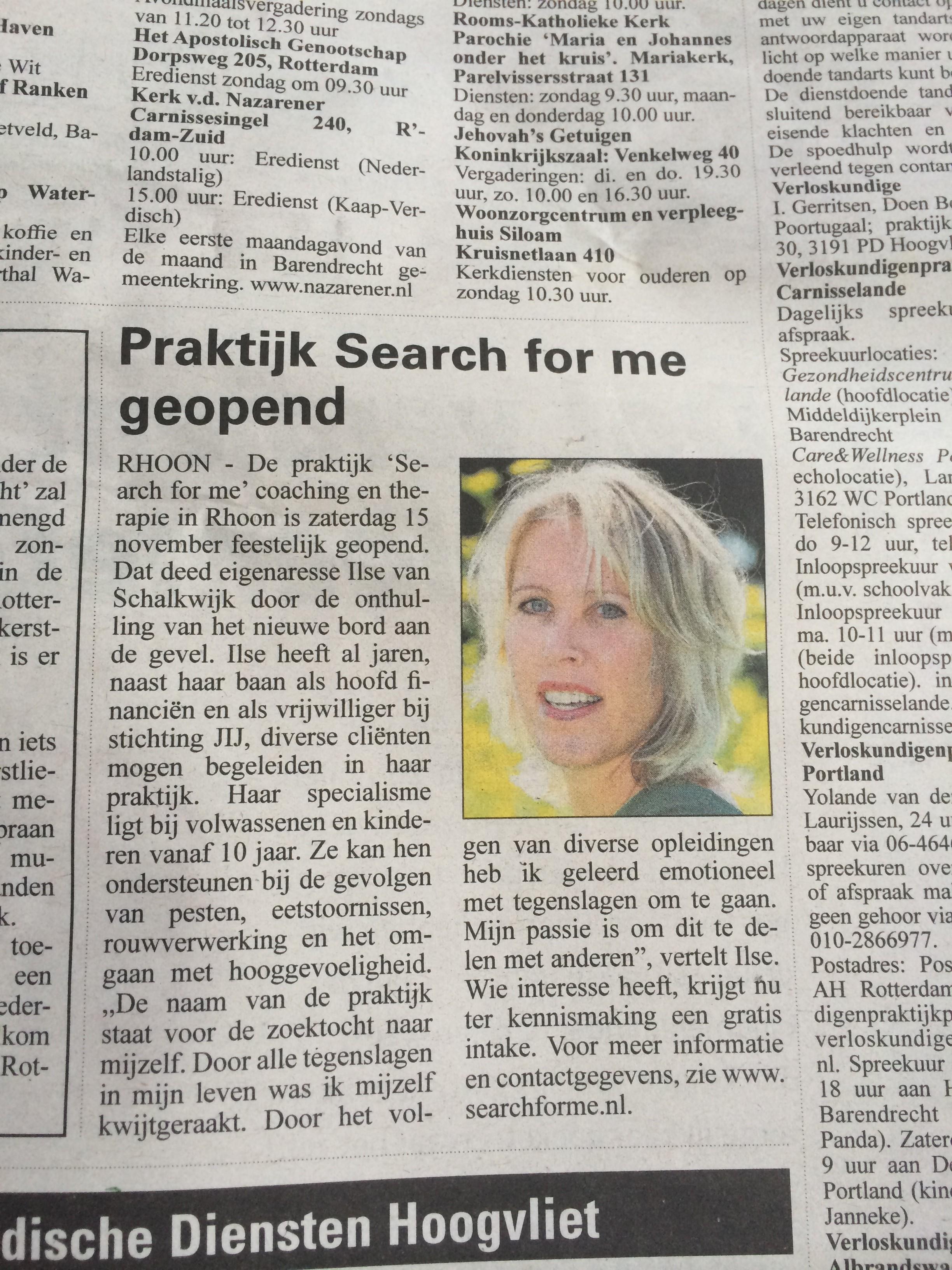 De Schakel Albrandswaard, november 2014: Feestelijke opening praktijk Search for me